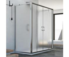 Replay Trio 2 Türen 3-seitige Duschkabine 90x130x90 CM H185 Strukturglas
