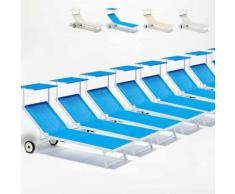20 Sonnenliegen Strandliege aus Aluminium mit Rollen für Garten Swimmingpool ALABAMA | Blau