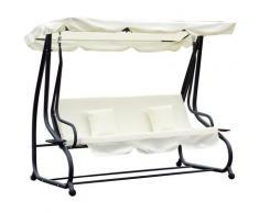 ® Hollywoodschaukel mit Liegefunktion Gartenschaukel 3-Sitzer Dach Stahl - beige - Outsunny