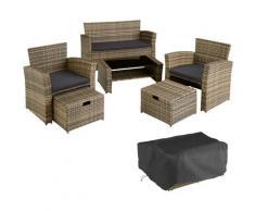 Rattan Sitzgruppe Modena - Gartenlounge, Terrassenmöbel, Rattan Lounge - natur