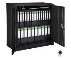 Aktenschrank mit 3 Böden - Büroschrank, Rolladenschrank, Hängeregisterschrank - schwarz