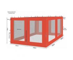 4 Seitenteile mit Moskitonetz für Rank Pavillon 3x3m Seitenwand Terra / Rotorange RAL 2001