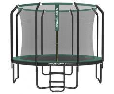 Trampolin 305 cm, rundes Gartentrampolin mit Sicherheitsnetz und Leiter, gepolstertes Gestell, für