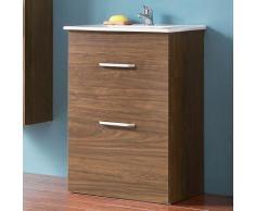 Badmöbel Set 60 cm Keramikbecken freistehend Waschtisch mit Unterschrank Walnuss Keramikbecken 2x