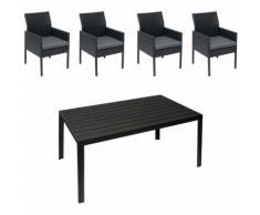 Gartengarnitur HHG-822, Lounge-Set, Poly-Rattan 150x90cm ~ schwarz, Kissen dunkelgrau,