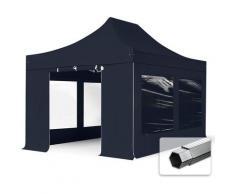 Faltzelt PROFESSIONAL 3x4,5 m mit Panoramafenster Faltpavillon ALU Pavillon Partyzelt in schwarz