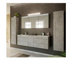 Lomadox - Badmöbel Komplett Set Beton Optik NEWLAND-02 153cm Waschtisch, LED-Spiegelschrank, 2