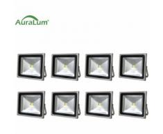 10×50W LED Außenstrahler Fluter Flutlichtstrahler, 6000K Kaltweiß 4500 Lumen 230V IP65 Wasserdicht,