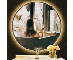 LED Badspiegel Rund Wandspiegel Badezimmerspiegel Anti-Fog 80x80cm (Warmweiß)