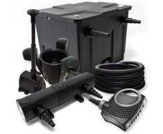 Teichfilter Set aus 12000l, UVC Teichklärer mit 24W, 80W Pumpe, Skimmer und Springbrunnenpumpe