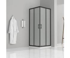 Duschkabine mit Schiebetüren Eckdusche mit Rollensystem aus satiniertem ESG Glas 180cm Hoch mit
