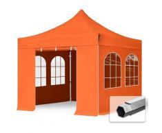 Faltzelt PROFESSIONAL 3x3 m mit Fenstern Faltpavillon ALU Pavillon Partyzelt in orange - Profizelt24