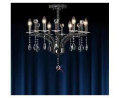 09-diyas - Deckenleuchte Fiore 6 Glühbirnen schwarz Chrom / Kristall
