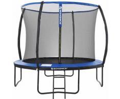 Trampolin Ø305cm, rundes Gartentrampolin mit Sicherheitsnetz, Leiter, gepolsterten Stangen,