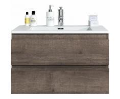 Badezimmer Badmöbel Set Angela 80cm Braun eiche - Unterschrank Schrank Waschbecken Waschtisch