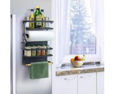 Kühlschrank Hängeregal Gewürzregal Regal Küche Organizer Aufbewahrung mit Küchenrollenhalter