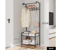 Kleiderbügel Kleiderständer Garderobe Schuhregal Garderobe Garderobe 60 x 30 x 165 cm schwarz