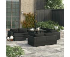 YOUTHUP 10-tlg. Garten-Lounge-Set mit Auflagen Poly Rattan Schwarz