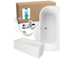 Calmwaters® Rechteck Badewanne Komplettset 180x80 cm mit Wannenträger & Armatur & Ablaufgarnitur,