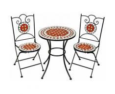 Gartenmöbel Set Mosaik mit 2 Stühlen und Tisch - Gartentisch, Gartenstuhl, Sitzbank - braun