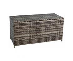 Auflagenbox Poly Rattan Kissenbox Gartenbox Aufbewahrungsbox Box Beige-Braun