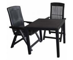 3tlg. Gartengarnitur Kunststoff Tisch Rattan-Look 79x79cm + 2x Klappstuhl 5-fach verstellbar