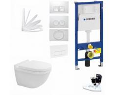 Duravit Starck 3 SET Wand-WC Rimless (spülrandlos) inkl. WC-Sitz mit Absenkautomatik, weiss, Farbe:
