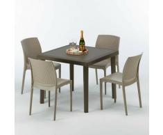 Poly rattan Tisch quadratisch mit 4 bunten Stühlen 90x90 Braun BROWN PASSION | Boheme Beige Jute