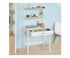 SoBuy Schreibtisch kinder Computertisch mit 2 Ablagen und Schublade 78 cm breit FWT52-W