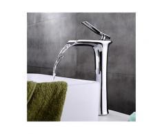 Waschtisch-Armatur mit Wasserfallstrahl, verchromt, in modernem, schlichtem Design
