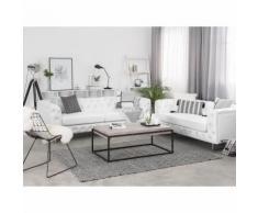 Beliani - Sofa Set Weiß Kunstleder Sitzgruppe Chesterfield Stil Glamourös Wohnzimmer