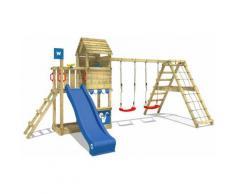 Spielturm Klettergerüst Smart Port mit Schaukel & blauer Rutsche, Kletterturm mit Sandkasten,
