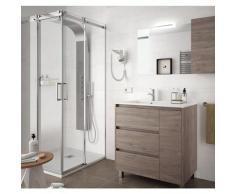 Badezimmer Badmöbel auf dem boden 85 cm aus Eiche eternity Holz mit Porzellan Waschtisch | 85 cm