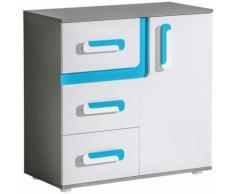 Jugendzimmer - Kommode Oskar 08, Farbe: Anthrazit / Weiß / Blau - 84 x 85 x 40 cm (H x B x T)