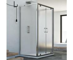 Sintesi Trio 2 Türen 3-seitige Duschkabine 80x130x80 CM H185 Strukturglas