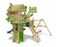 Spielturm Klettergerüst Smart Treetop mit Schaukel & blauer Rutsche, Spielhaus mit Kletterleiter &