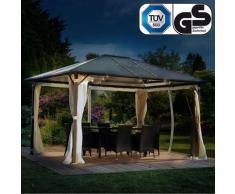 Brast - Alu-Pavillon Summerdream 3x4m beige inkl. LEDs