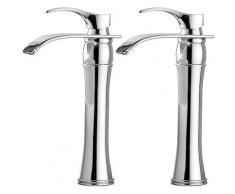 2er Wasserhahn Bad, Chrom, Einhebelmischer Waschtischarmaturen mit Hoher Wasserfall Auslauf für
