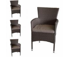 4 Stück Rattansessel, stapelbar, Polyrattanbespannung, braun-meliert + Sitzkissen / Gartensessel