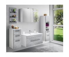 Badmöbel Set mit 100cm Keramik-Waschtisch und LED-Spiegelschrank LAGOS-02 Beton Nb., B x H x T ca.