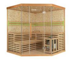 Home Deluxe - Traditionelle Sauna Skyline XL BIG Kunststeinwand | Eckkabine, Ecksauna, Saunakabine