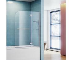 Badewannenaufsatz Sonni 2-teilig Nano Glas 90x140cm Handtuchhalter Badewanne Dusche