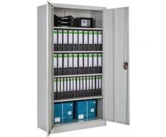 Aktenschrank mit 5 Böden - Büroschrank, Rolladenschrank, Hängeregisterschrank - grau
