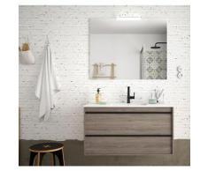 Badezimmer Badmöbel 100 cm Nevada aus Eiche eternity Holz mit Porzellan Waschtisch | 100 cm - mit