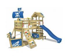 WICKEY Spielturm Klettergerüst GhostFlyer mit Schaukel & blauer Rutsche, Baumhaus mit Sandkasten,