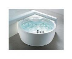 Whirlpool-Badewanne mit Massagefunktion und LED rund in Weiß Milano