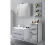 Badezimmermöbel-Set mit 75cm Keramik-Waschtisch und LED-Regal LAGOS-02 (4-teilig) Beton Nb., B x H