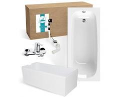 Calmwaters® Rechteck Badewanne Komplettset 170x75 cm mit Wannenträger & Armatur & Ablaufgarnitur,