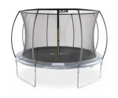 Trampolin Rund Ø 370cm Farbe Grau -SATURNE Inner XXL- Gartentrampolin mit Innenschutznetz, Super
