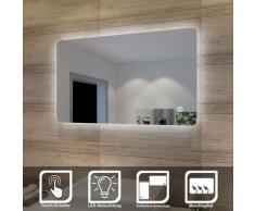 SONNI Badspiegel Lichtspiegel LED Spiegel Wandspiegel mit Sensor-Schalter 100 x 60cm kaltweiß IP44